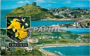 Postcard Modern Sea Front and Castle Criccieth Castle from the