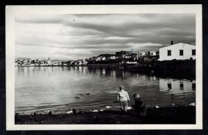 Mint  RPPC BW Iceland Reyjavik City Sea Side View real picture  Postcard