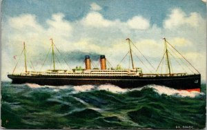 Antique SS Baltic Steamship Steaming - POSTCARD - VINTAGE - PC BOAT WHITE STAR