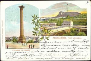 egypt, ALEXANDRIA, Fort Napoleon, Pompey's Pillar, Multiview (1901) Stamp