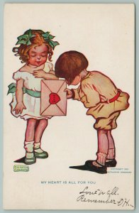 Artist~Katharine Gassaway~Boy Bows As He Presents Valentine To Pleased Lil Girl