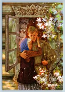 Man Soldier WWII homecoming to Mother New Unposted Postcard