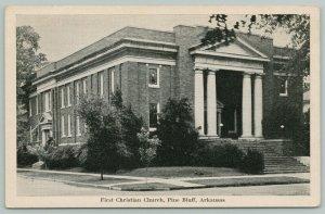 Pine Bluff Arkansas~1st Christian Church~c1930 B&W From PC Collector Massengale