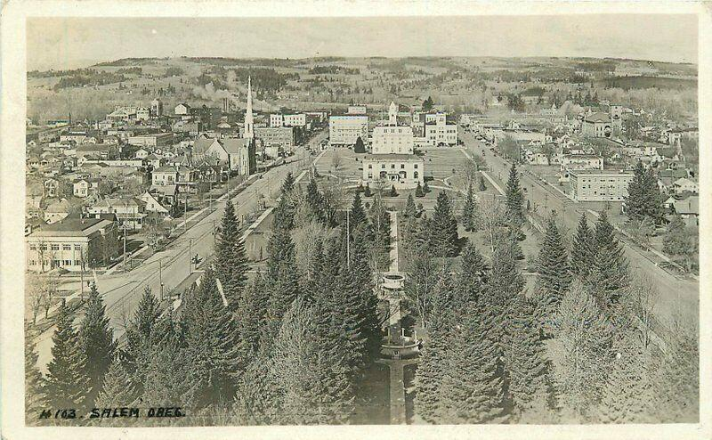 Aerial View Salem Oregon 1920s RPPC Photo Postcard 1924