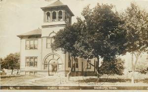 Danbury Iowa~Big Fat Belltower in Public School~Real Photo Postcard 1908