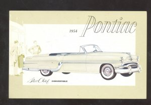 1954 PONTIAC STAR CHIEF CONVERTIBLE VINTAGE CAR DEALER ADVERTISING POSTCARD