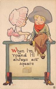 Bernhardt Wall~Cowboy & Pink Sunbonnet Girl~Am Round But Act Square~1915 PC