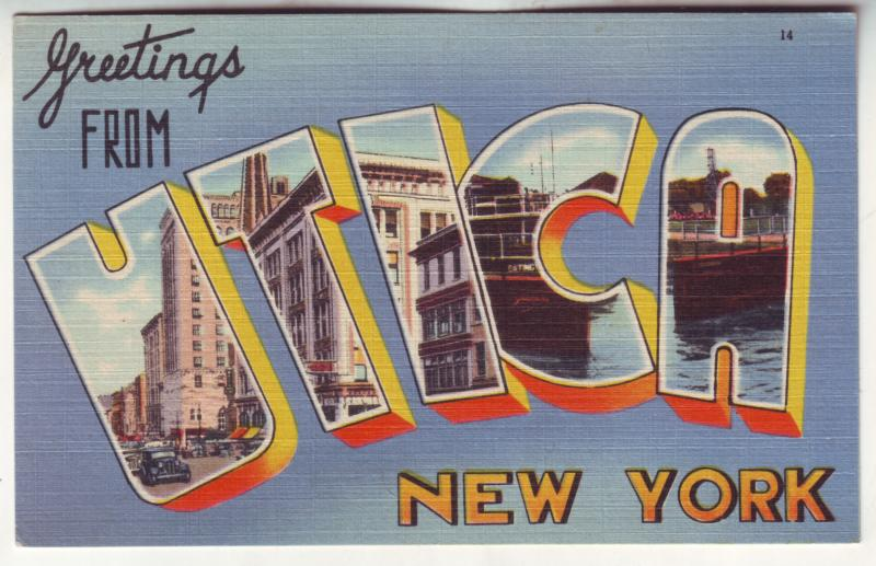 P501 JLs vintage large letter greetings from utica new york