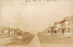 Gary IndiANa~American Square Homes~Dirt Harrison St Half-Paved @ W 8th~RPPC 1909