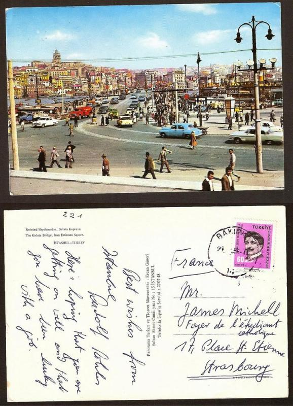 TURKEY VINTAGE POSTCARD/STAMP GALATA BRIDGE FROM EMINONU SQU