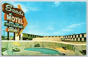 Borger Texas~Sands Motel & Restaurant~Neon Sign Close Up~Pool~1950s Postcard