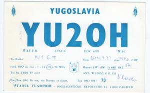 QSL, YU2OH, Zagreb, Yugoslavia (Croatia), 1977