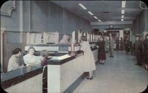 Newark NJ Franklin Saving Bank INTERIOR 1950s Postcard/Advertising Card