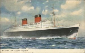 Cunard Line Steamship Queen Elizabeth 1951 PAQUEBOT POSTED AT SEA Cancel PC