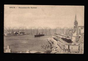 034221 MALTA Marsamuscetto Harbour & ship Vintage PC