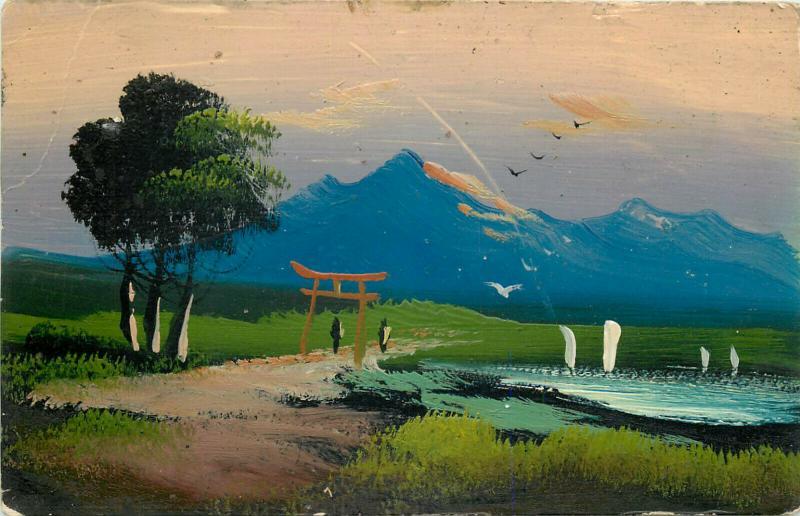 Japanese art work postcard painted landscape early postcard Japan
