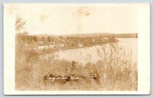 Edgewater WI~Birdseye Shoreline Homes & Cabins From Across Lake Chetac~1930 RPPC