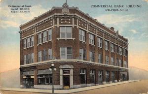 Delphos Ohio birds eye view Commercial Bank Building antique pc Y13544