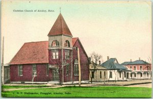1909 AINSLEY, Nebraska Postcard Christian Church Building View Hand-Colored