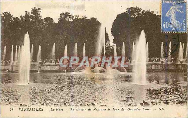 Postcard Old Versailles Park Basin Neptune Day of Fountains