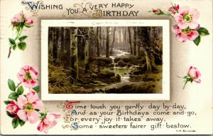 WISHING YOU A VERY HAPPY BIRTHDAY - NATURE SCENE - VINTAGE POSTCARD