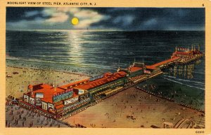 NJ - Atlantic City. Moonlight at the Steel Pier