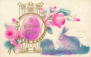 Easter~Hot Pink Egg in Gold Art Nouveau Holder~Rose~Blue Bunnies Nibble~Airbrush