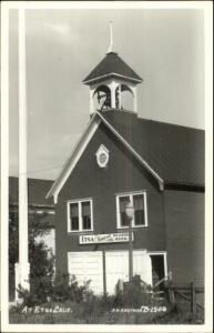 Etna CA Library - Fire Station??? Real Photo Postcard