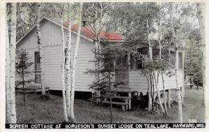 F15/ Hayward Wisconsin RPPC Postcard 1952 Borgeson's Sunset Lodge