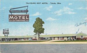 Toledo Ohio~Travelers Rest Motel~Telegraph Rd~Cars in Front 1955 Linen Postcard