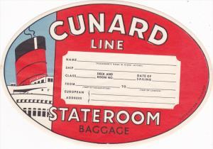 Cunard Line , Stateroom Baggage Label , 30-40s