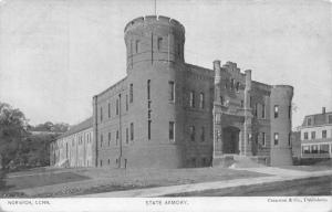 Norwich Connecticut~National Guard State Armory~House Behind~1905 B&W Postcard