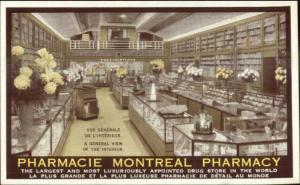 Montreal Quebec Pharmacy Drugstore Interior c1930s-40s Postcard EXC COND
