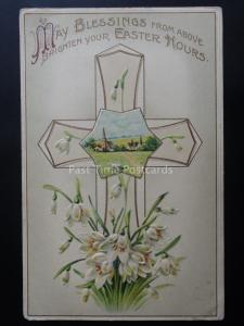 EASTER BLESSINGS from Above Depicts LAMB CROSS CHURCH - Old Postcard by E.A.S.