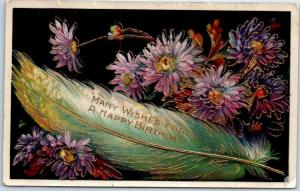 1912 Embossed Greetings Postcard Many Wishes for a HAPPY BIRTHDAY Feather
