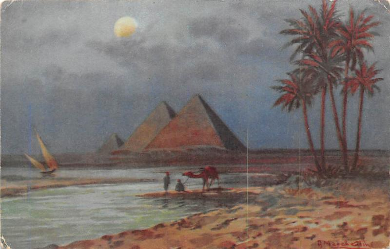 Egypt The Pyramids at Moonlight, Camel, Boat, Signed