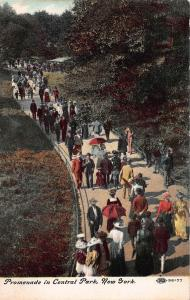 Promenade in Central Park, New York City, N.Y.,  Early Postcard, Unused