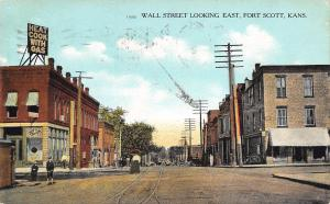 Fort Scott Kansas~Wall Street Looking East~Cook With Gas~Boys on Corner~1909 PC