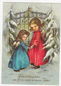 Frohe Weihnachten Und Viel Gluck Im Neun Tahr, Two little girl angels holding...