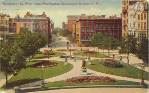 Monument St West From Washington Monument, Baltimore, MD 1919 Postcard, Lions