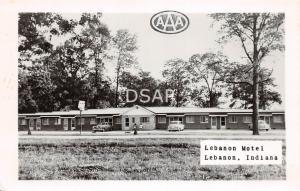 Indiana IN Postcard Real Photo RPPC c1950 LEBANON Motel Building Cars Roadside