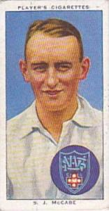 Player Vintage Cigarette Card Cricketers 1938 No 44 S J McCabe New South Wale...