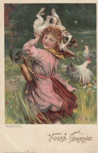 CHRISTMAS; 1900-10s;  Rogues, Girl carrying dog through Chickens