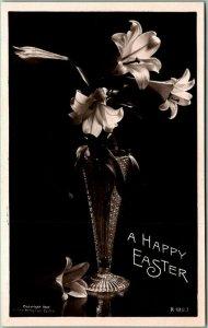 Vintage A HAPPY EASTER Real Photo RPPC Postcard Lily Flowers / Vase 1910s UNUSED
