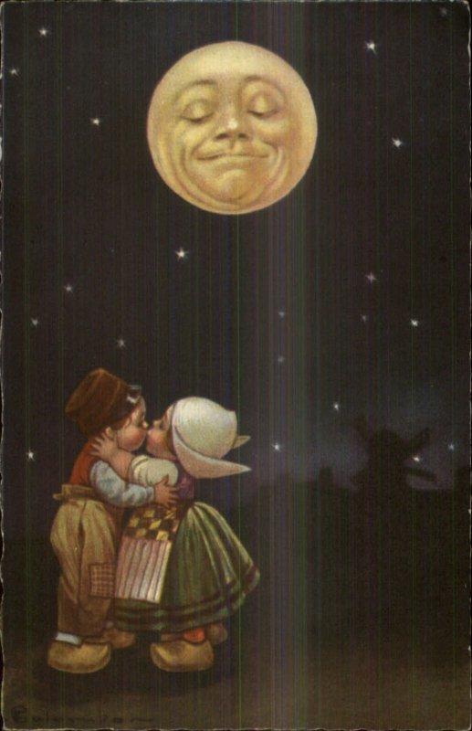 Dutch Kids Romance - Man in the Moon Fantasy GREAT ART Colombo Postcard #1