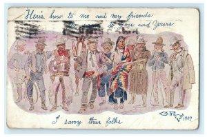 Cowboy Native American Businessman Guns Friends Beer 1907 Pocatello Postcard