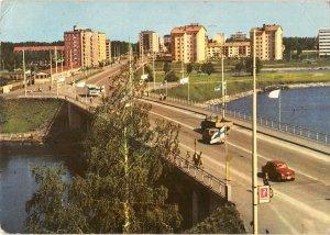 B108758 Finland Oulu Bridge Vintage Cars Voitures Panorama