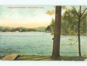 Divided-back LAKE SCENE Worcester - Near Boston Massachusetts MA AE5003