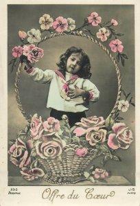 children Postcard young girl vintage sailor outfit flower basket heartly offer
