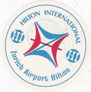 Switzerland Zurich Hilton Airport Hotel Vintage Luggage Label sk4233